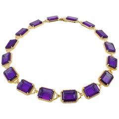 Goshwara Emerald Cut Amethyst And Diamonds Choker Necklace