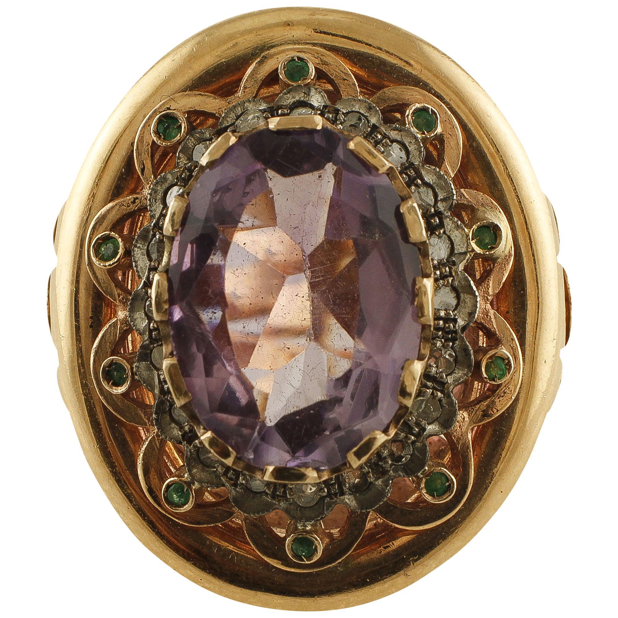 Amethyst, Emeralds, Diamonds, 9 Karat Rose Gold and Silver Retro Ring