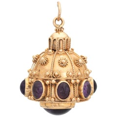 Amethyst Etruscan Style Large Charm Vintage 14 Karat Gold Pendant Gemstone