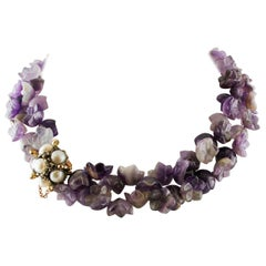 Amethyst Flower Double-Strands Necklace, Pearls, Rubies, Gold and Silver Clasp
