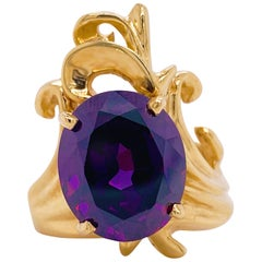 Amethyst Freeform Ring, 14 Karat Yellow Gold, Oval Amethyst 7 Carat Amethyst Gem