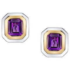 Amethyst French Clip Earrings 18 Karat Yellow and White Gold