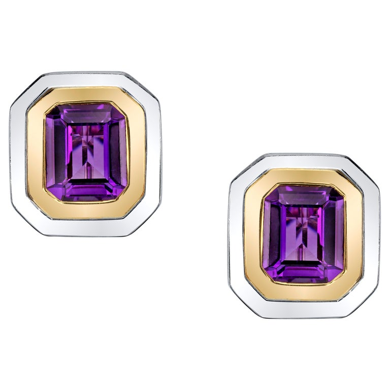 Amethyst French Clip Earrings 18 Karat Yellow and White Gold For Sale