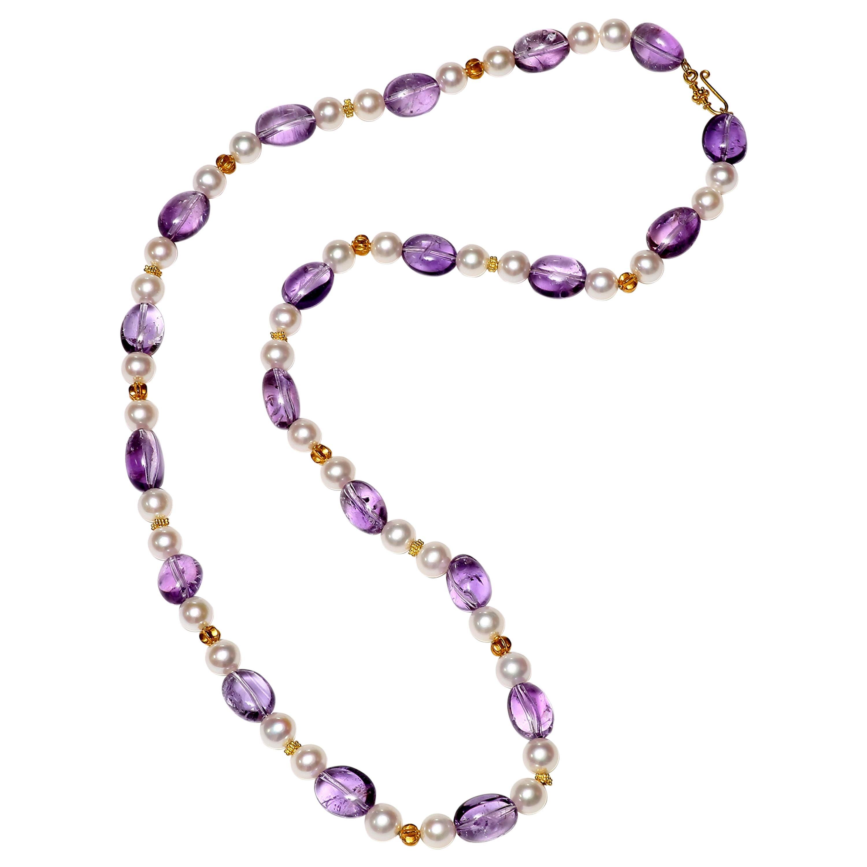 Amethyst, Freshwater Pearl and Gold Necklace