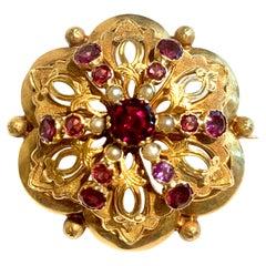 Amethyst, Garnet and Pearls 18 Carat Yellow Gold Brooch
