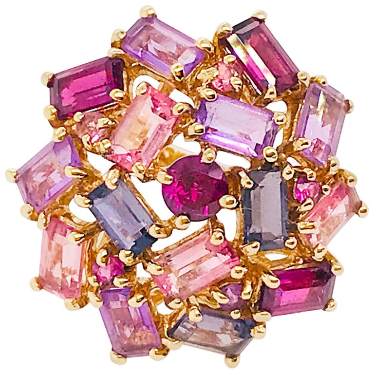 Amethyst, Garnet and Tourmaline Cluster Fashion Cocktail Ring in 14k Yellow Gold For Sale
