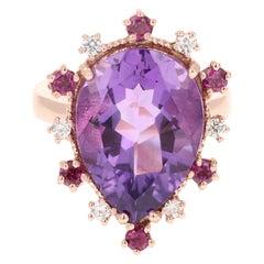 Amethyst Garnet Diamond 14 Karat Rose Gold Ring