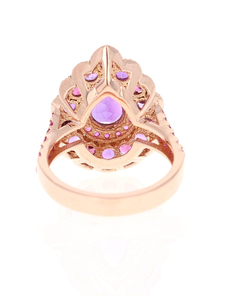 Pear Cut 3.57 Carat Amethyst Pink Sapphire Diamond 14 Karat Rose Gold Cocktail Ring For Sale