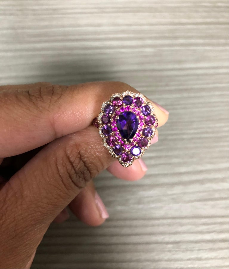 3.57 Carat Amethyst Pink Sapphire Diamond 14 Karat Rose Gold Cocktail Ring In New Condition For Sale In San Dimas, CA