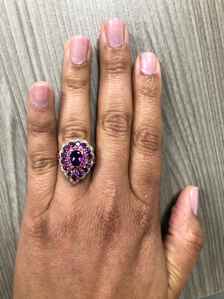 Women's 3.57 Carat Amethyst Pink Sapphire Diamond 14 Karat Rose Gold Cocktail Ring For Sale