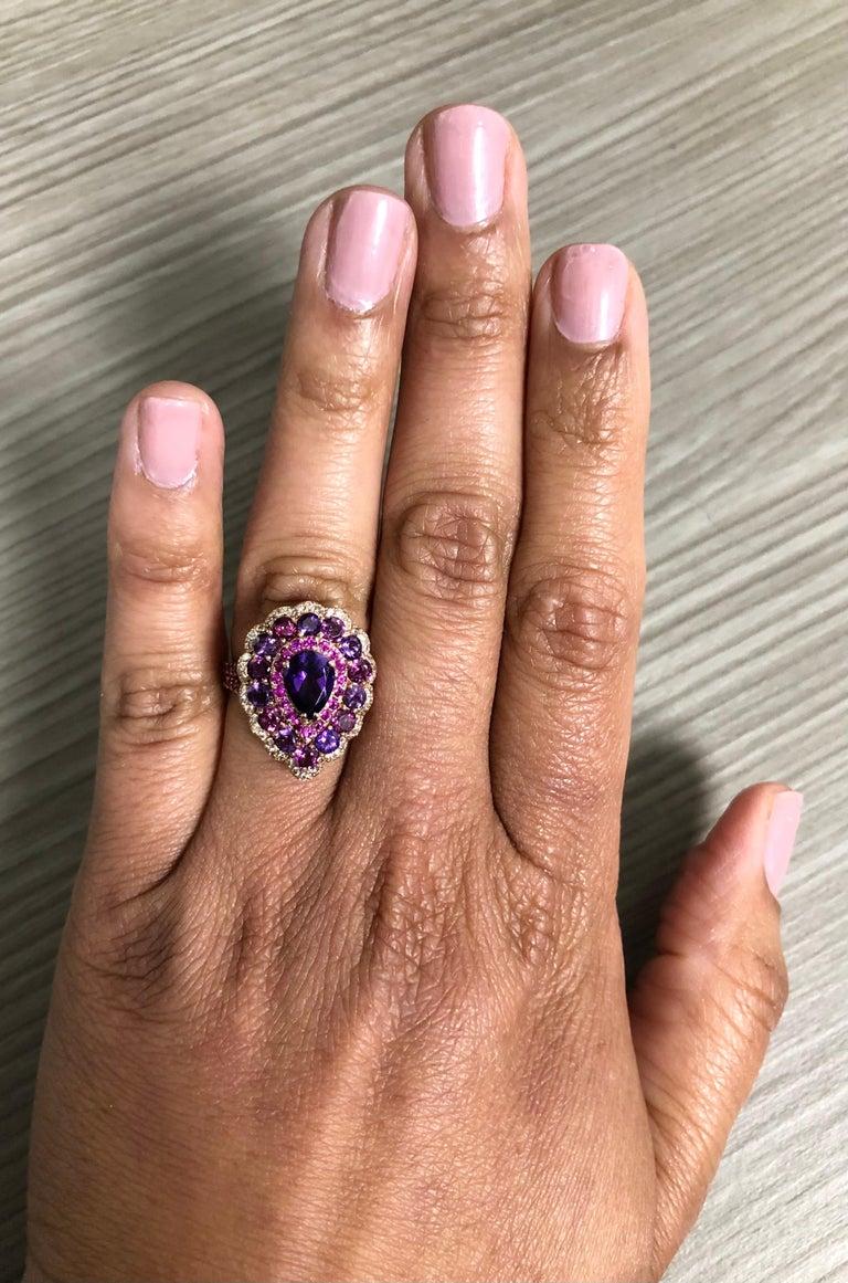 3.57 Carat Amethyst Pink Sapphire Diamond 14 Karat Rose Gold Cocktail Ring For Sale 1