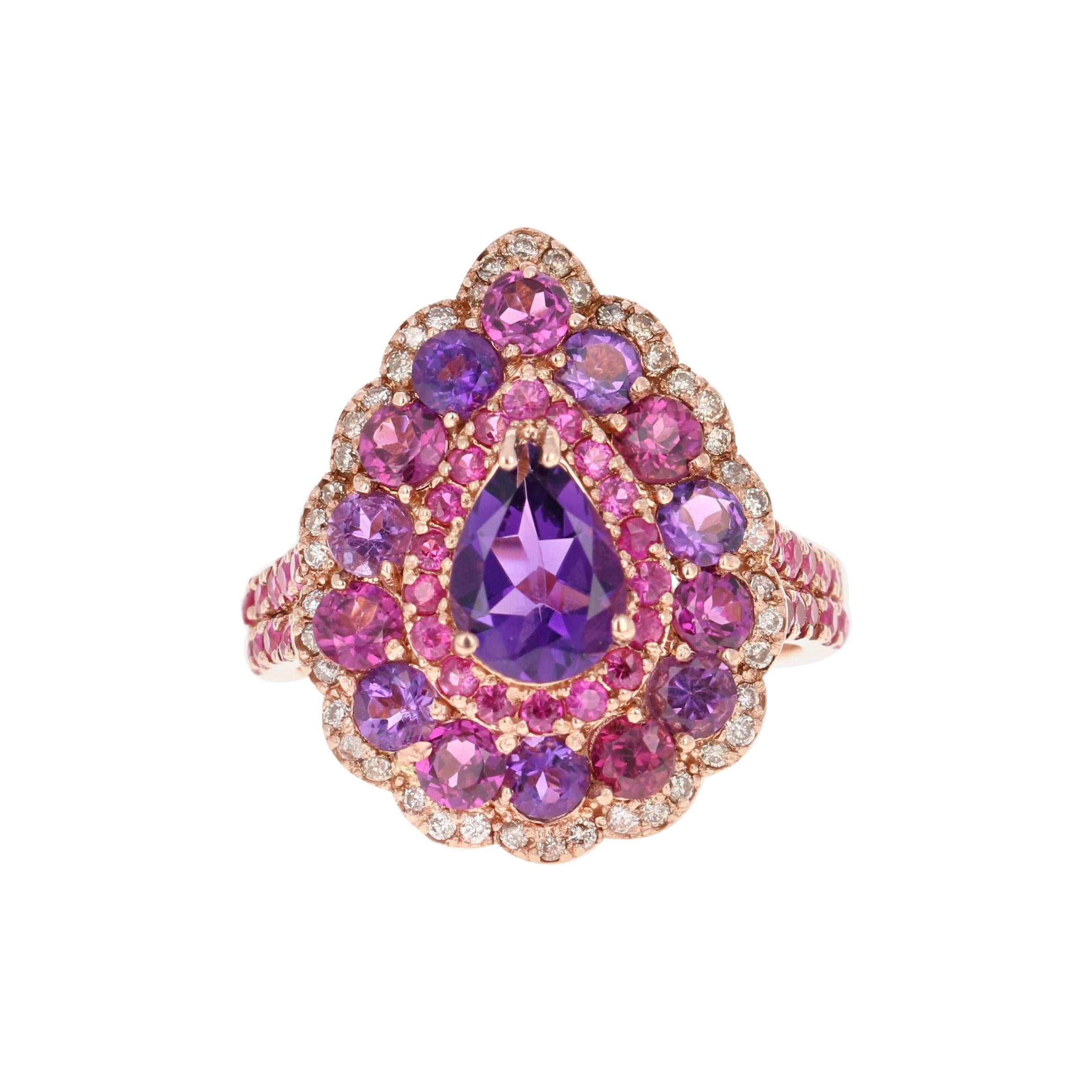 3.57 Carat Amethyst Pink Sapphire Diamond 14 Karat Rose Gold Cocktail Ring