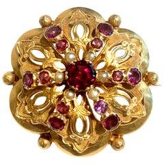 Amethyst Garnet Synthetic Stone Pearls 18 Carat Yellow Gold Brooch