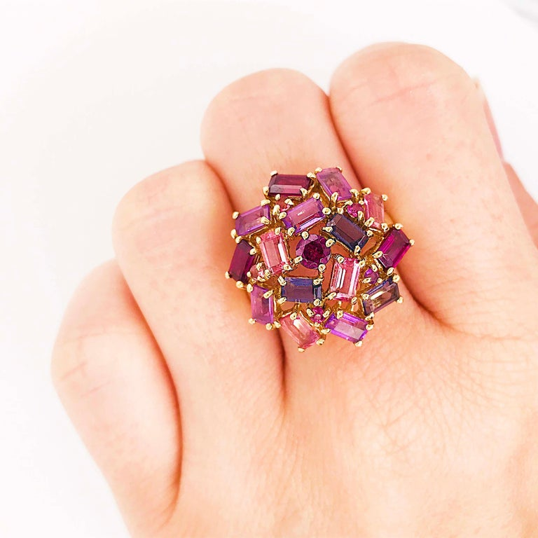 Artisan Amethyst, Garnet and Tourmaline Cluster Fashion Cocktail Ring in 14k Yellow Gold For Sale