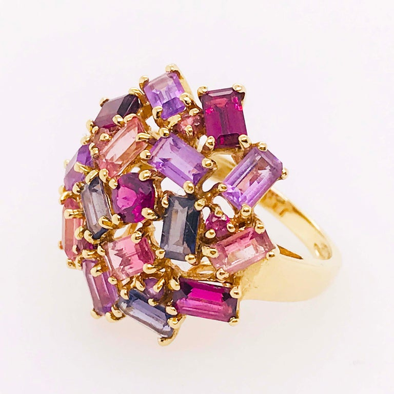 Baguette Cut Amethyst, Garnet and Tourmaline Cluster Fashion Cocktail Ring in 14k Yellow Gold For Sale