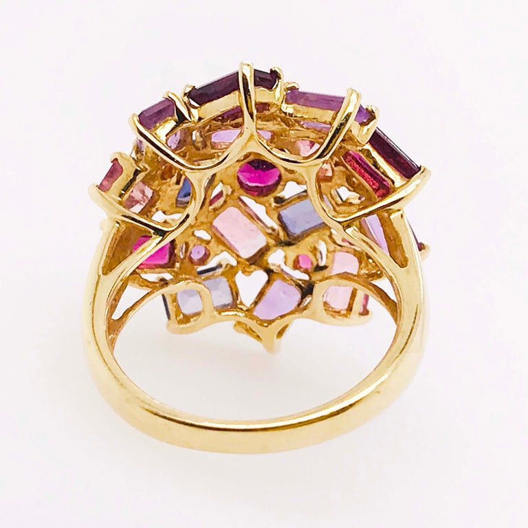 Amethyst, Garnet and Tourmaline Cluster Fashion Cocktail Ring in 14k Yellow Gold In Excellent Condition For Sale In Austin, TX