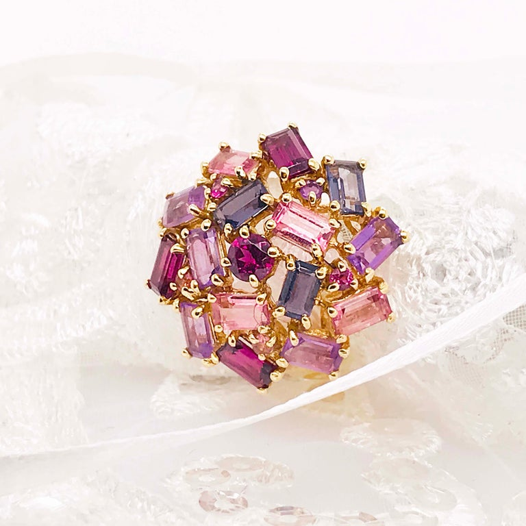 Women's Amethyst, Garnet and Tourmaline Cluster Fashion Cocktail Ring in 14k Yellow Gold For Sale