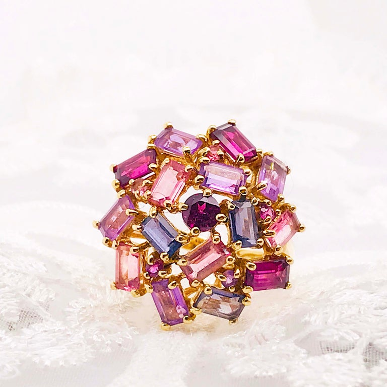 Amethyst, Garnet and Tourmaline Cluster Fashion Cocktail Ring in 14k Yellow Gold For Sale 1