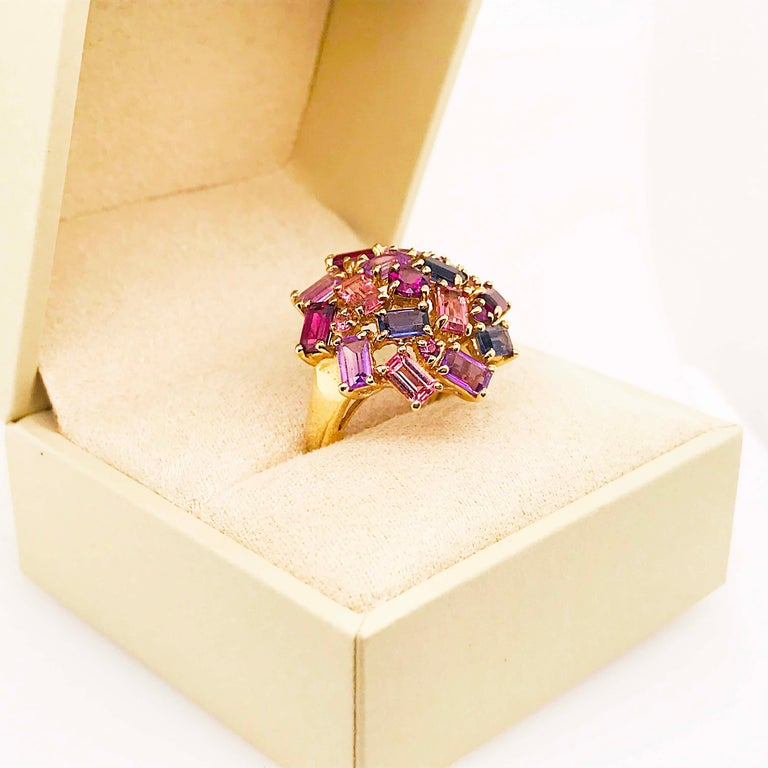 Amethyst, Garnet and Tourmaline Cluster Fashion Cocktail Ring in 14k Yellow Gold For Sale 2