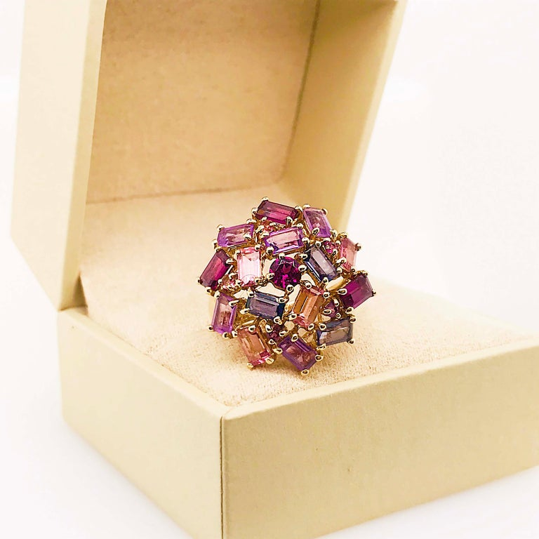 Amethyst, Garnet and Tourmaline Cluster Fashion Cocktail Ring in 14k Yellow Gold For Sale 3