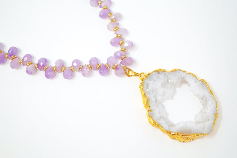 Women's Amethyst Gemstone Necklace with Swarovski Accents and Gilded Druzy Geode Pendant For Sale