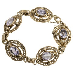 Amethyst Gemstone Ornate Link Vermeil Bracelet, Hallmarked Sterling, Early 1900s