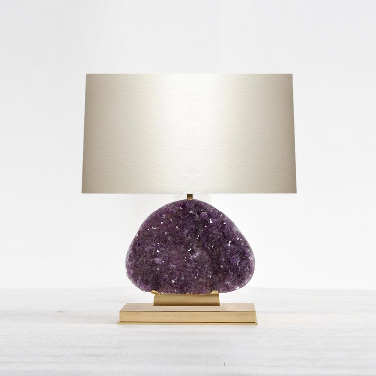 Amethyst geode cluster lamps. Mount is the lamp and the base is polished brass. Created by Phoenix Gallery NYC.