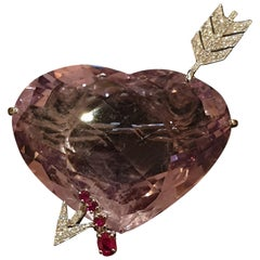 Amethyst Gold Brooch in the Form of a Pierced Heart with Diamonds and Rubies