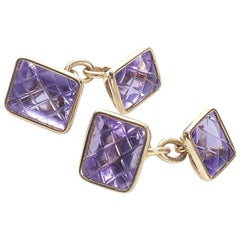 Amethyst Gold Cufflinks