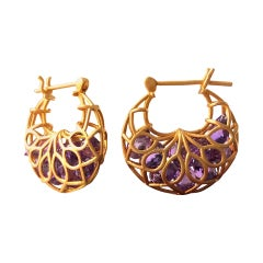 Amethyst Gold Hoops by Lauren Harper
