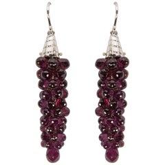 Amethyst Grape Cluster Drop Statement Earrings