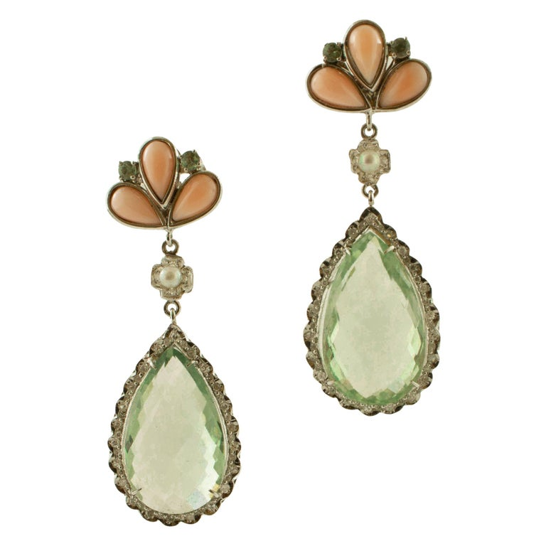 Amethyst, Green Sapphires, Coral, Pearl, Diamonds, 14 Karat White Gold Earrings For Sale