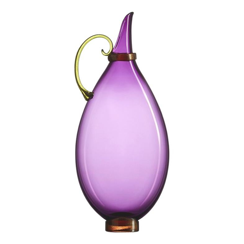 Amethyst Hand Blown Glass Vessel, Jewel Tone Pitcher, Size Tall, by Vetro Vero