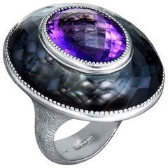 Amethyst Hematite Quartz Sterling Silver Platinum Ring One of a Kind