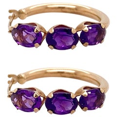 Amethyst Hoop Earrings, 3.4 Carat, Huggies, Six Amethyst Earrings, Yellow Gold