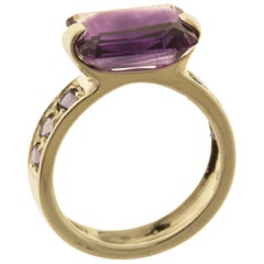 Amethyst Iolite 9 Karat White Gold Cocktail Ring Handcrafted in Italy