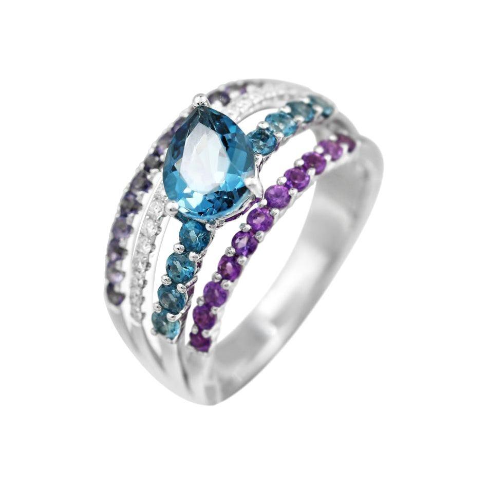 Amethyst Iolite Diamond Topaz White Gold 14 Karat Ring