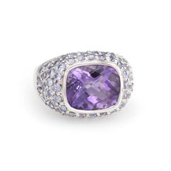 Amethyst Iolite Ring 10k White Gold Vintage East West Cocktail Estate Jewelry 7