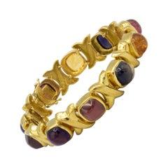 Amethyst Iolite Tourmaline Citrine Bracelet 50 Carat Total Weight 18 Karat Gold