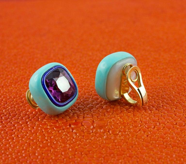Asscher Cut Amethyst Lapis Lazuli Turquoise Mother of Pearl 18 Karat Yellow Gold Earrings