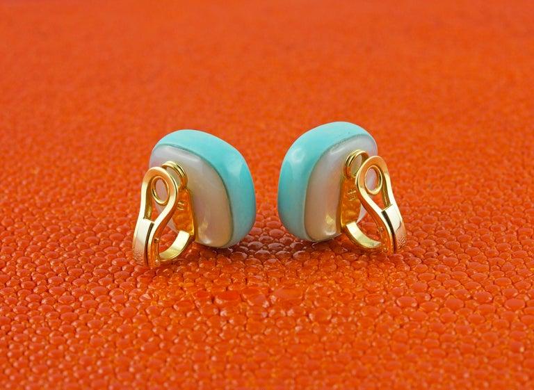 Women's or Men's Amethyst Lapis Lazuli Turquoise Mother of Pearl 18 Karat Yellow Gold Earrings
