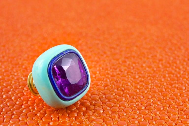 Amethyst Lapis Lazuli Turquoise Mother of Pearl 18 Karat Yellow Gold Earrings 1