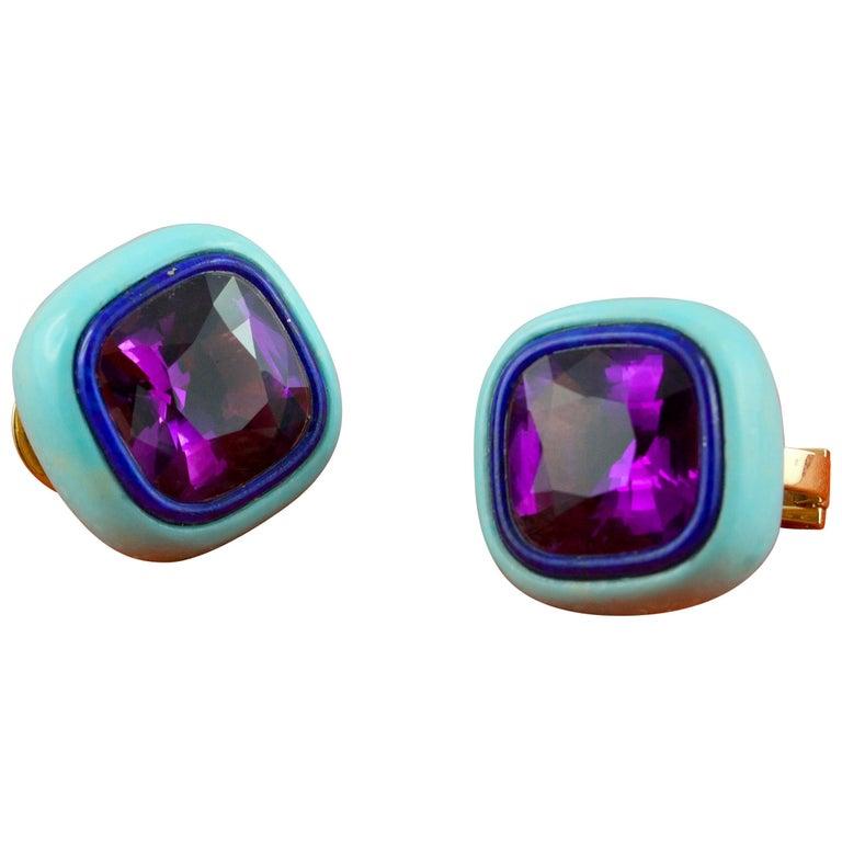 Amethyst Lapis Lazuli Turquoise Mother of Pearl 18 Karat Yellow Gold Earrings
