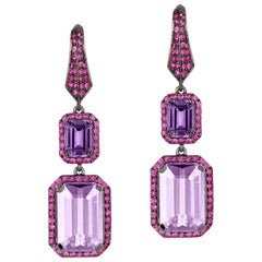 Amethyst, Lavender and Pink Sapphire Earrings