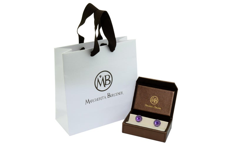 Women's or Men's Amethyst Layered with Mother of Pearl Tourmaline White Gold Cufflinks For Sale