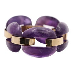 Amethyst Link Bracelet with Gold Connecting Links
