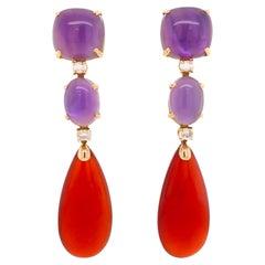 Amethyst, Moonstones, Red Agathe on Pink Gold 18 Karat Chandelier Earrings