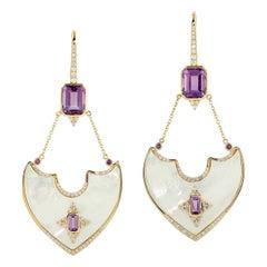 Amethyst Diamond 18 Karat Gold Earrings