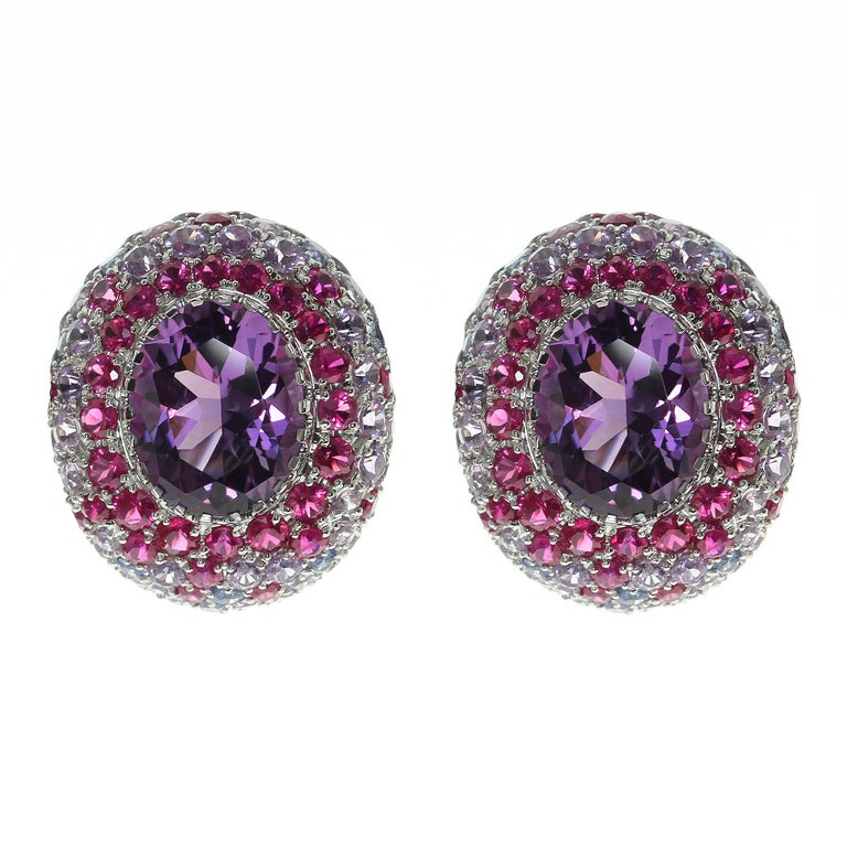 Amethyst Multicolor Sapphire 18 Karat Yellow Gold Earrings. It is a vibrant and colorfull earrings, perfect for everyday.  Accompanied with the Ring LU116414854213