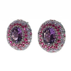 Amethyst Multi-Color Sapphire 18 Karat White Gold Earrings